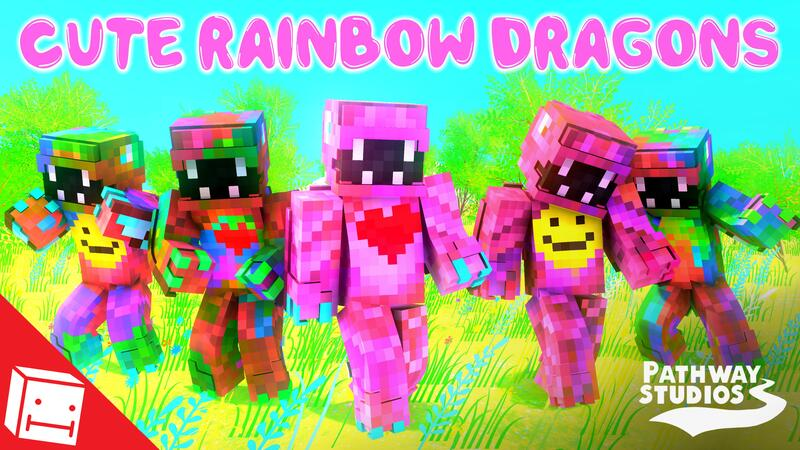 Cute Rainbow Dragons on the Minecraft Marketplace by Pathway Studios