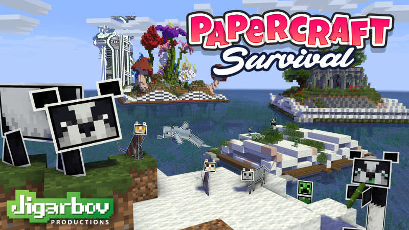 Papercraft Survival on the Minecraft Marketplace by Jigarbov Productions