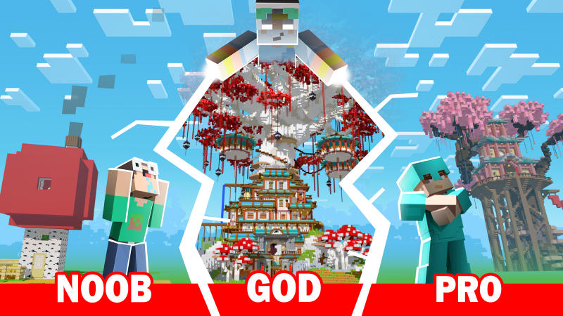 Noob vs Pro vs God Treehouse on the Minecraft Marketplace by BLOCKLAB Studios