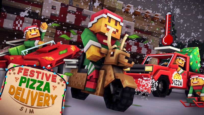 Festive Pizza Delivery Sim on the Minecraft Marketplace by 57Digital